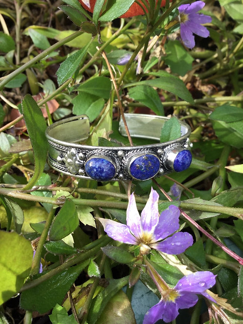 Cuff Bracelet handcrafted in India with lapis lazuli gemstone