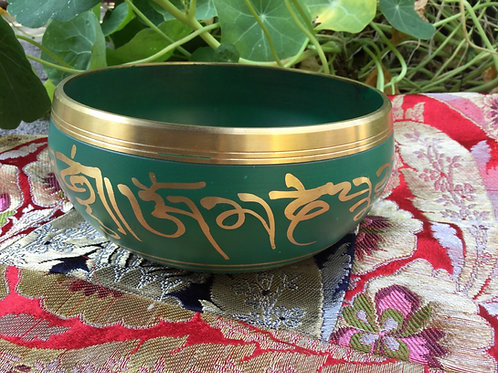 Tibetan singing bowl 14 cm, green and gold painted
