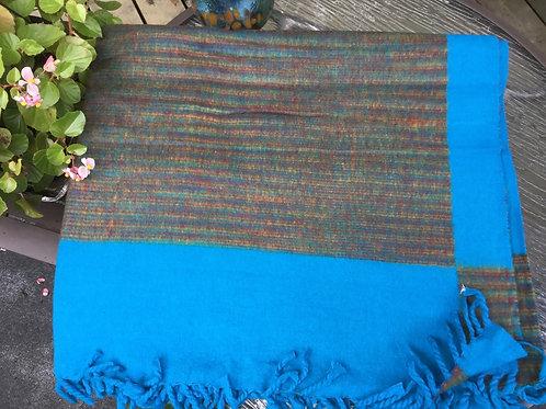 Couverture simili-laine de yak turquoise et brun