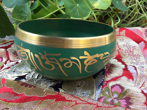 Tibetan singing bowl 14 cm, painted in green and gold
