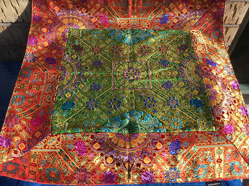 Buddhist Altar cloth in red and green satin
