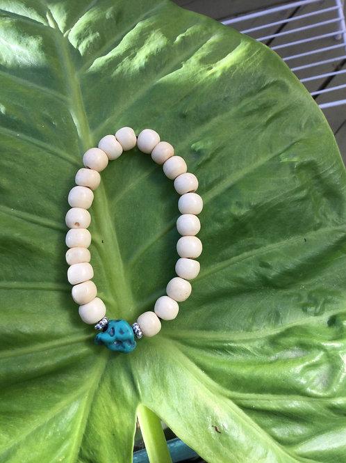 Buddhist wrist mala with white bone beads