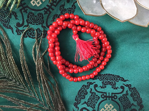 Mala bouddhiste de corail rouge
