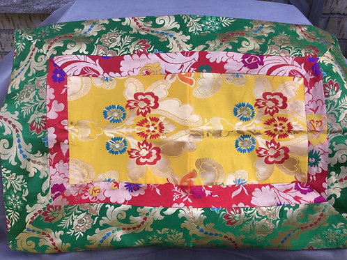 Buddhist altar cloth in green, red and yellow satin