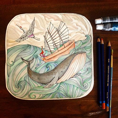 Ocean's Heart - Original Watercolor