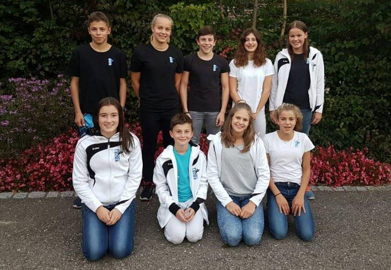 Oben von links: Maurus Dörig, Lea Schmidt, Jonas Pracht, Noelle Thür, Alexa Kid. Unten von links: Sarah Inauen, Aleck Hübner, Sarah Stäger, Rahel Schmidt.