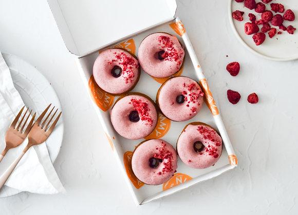 Raspberry & White Chocolate Baked Doughnuts Box of 6