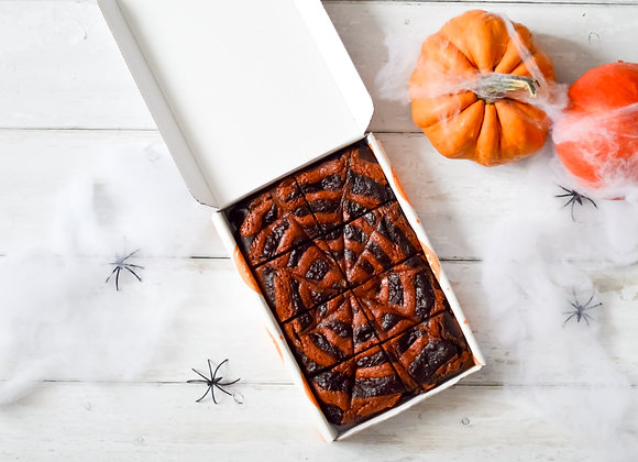 Halloween Spider Web Caramel Double Chocolate Avocado Brownies Large Box
