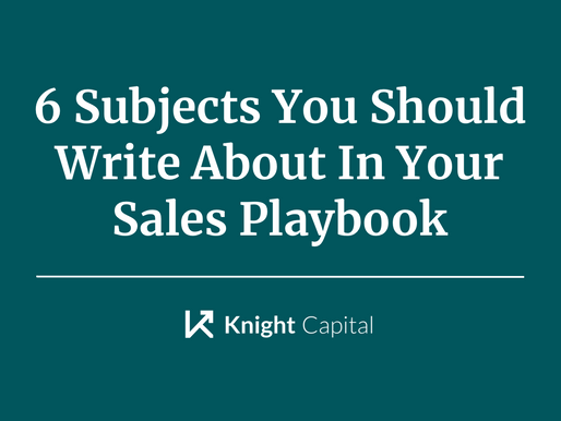6 Subjects You Should Write About In Your Sales Playbook