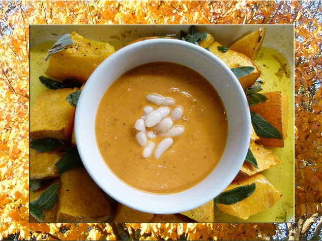 Sunbury Gallery Autumn inspired roast pumpkin and white bean soup