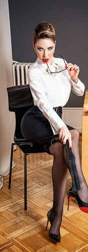 Mistress in school teacher roll play