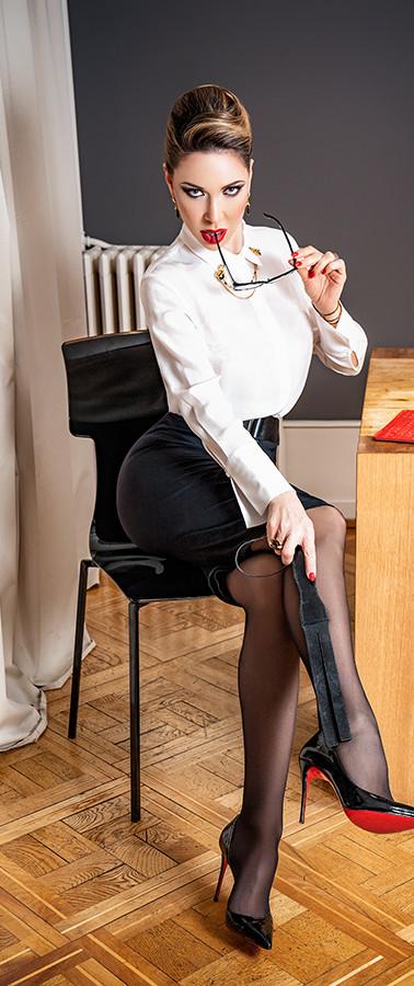 Mistress in school teacher roll play