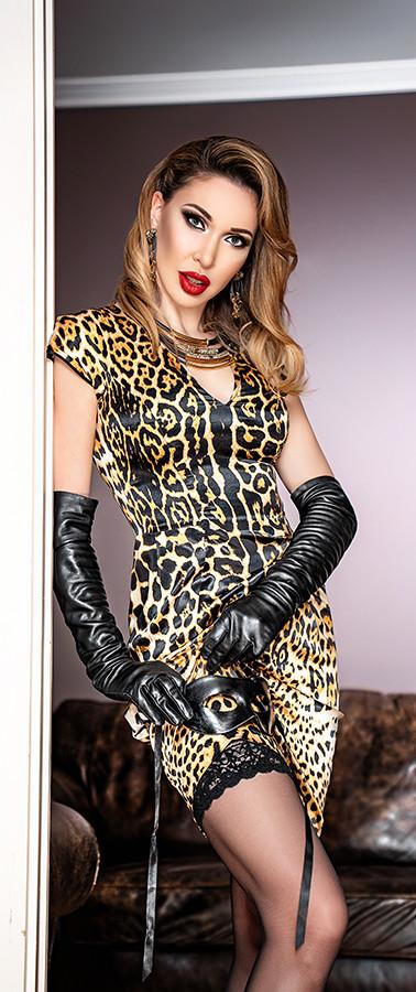 Mistress in leopard dress