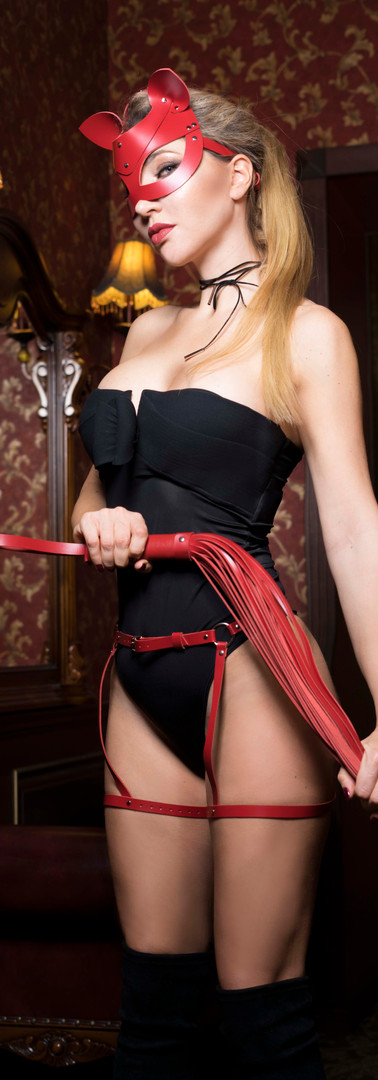 Femdom with mask and whip