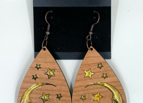Moon and Stars Earrings with resin