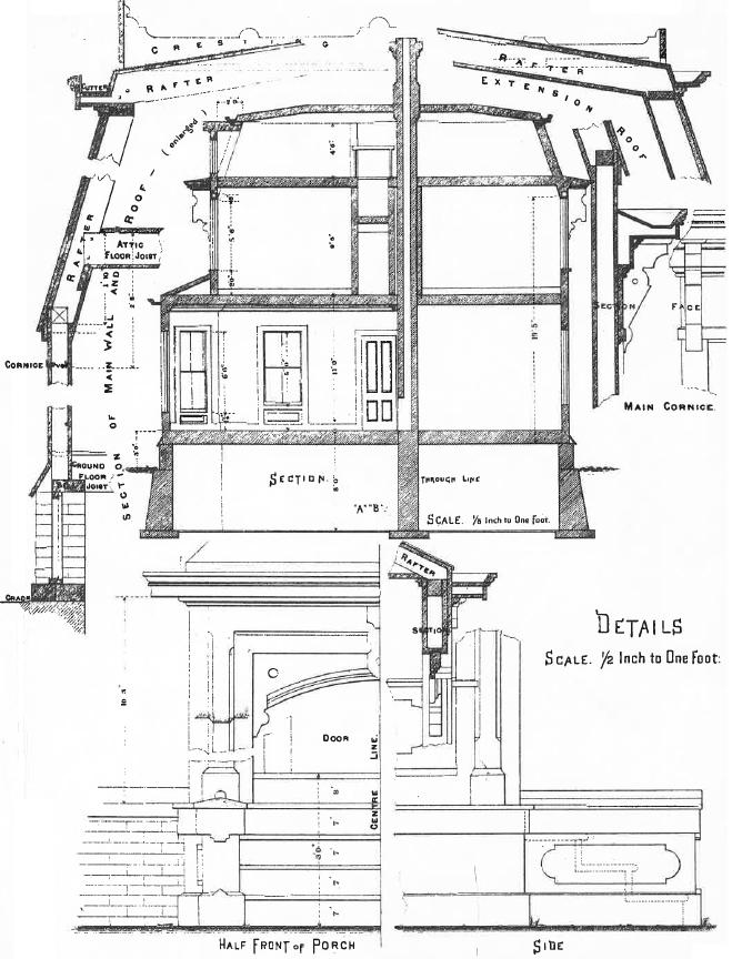 Sketched details of mansard roof and front porch.