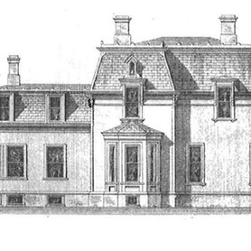 Shaded / detailed sketch of elevation showing original side bay window.