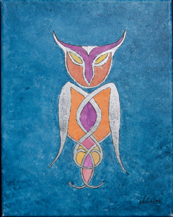 Stained Glass Nouveau Owl