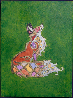 Stained Glass Nouveau Fox in green