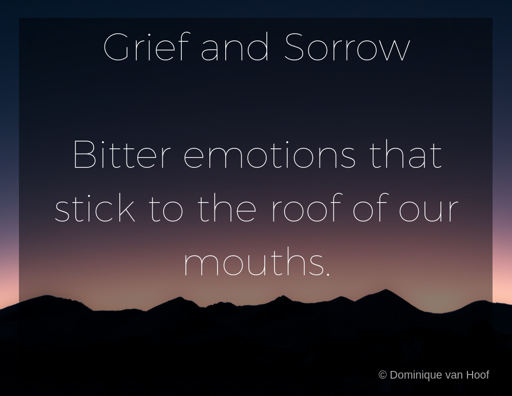 Image with text that reads Grief and Sorrow, bitter emotions that stick to the roof of our mouths