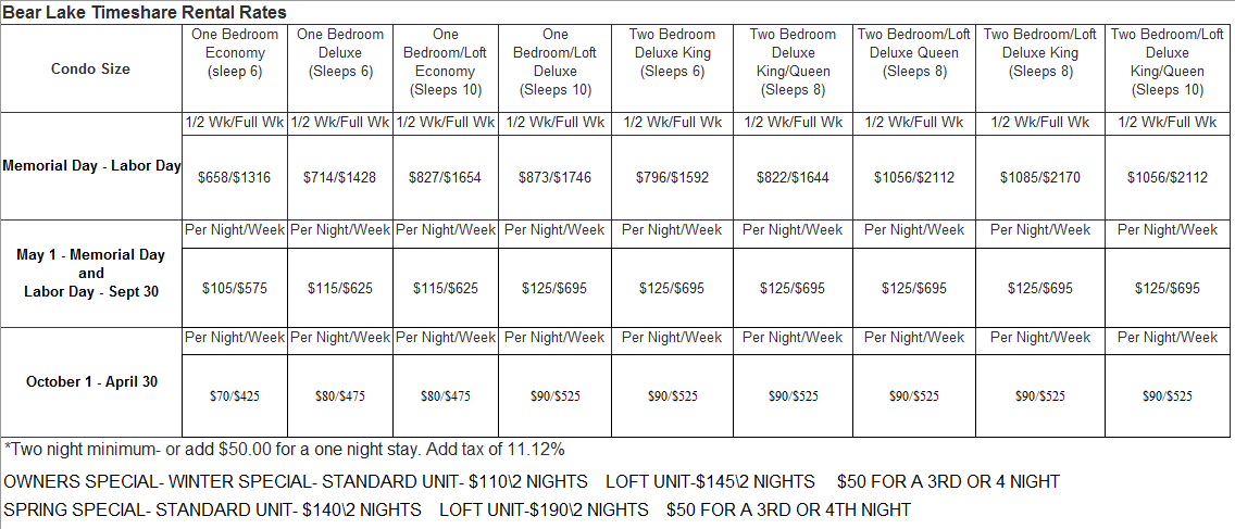 Bear Lake Timeshare Rental Rates.PNG