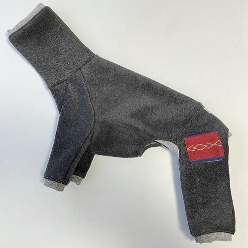 上質メルトンフリースのロンパース チャコールグレー/ネイティブ柄ポケット