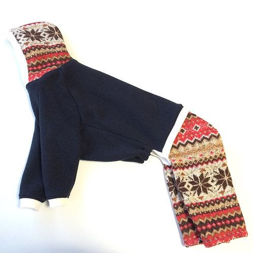 ノルディック柄パンツのネイビーパーカー
