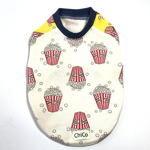 ポップコーン柄Tシャツ 生成/ネイビーリブ