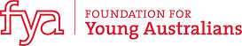 Foundation for Young Australians logo which has 'fya' then a line, then the words 'FOUNDATION FOR Young Australians' to the right.