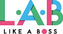 The Like A Boss official Logo made up the letter L.A.B in green, blue and pink and the tagline 'Like A Boss' underneath.