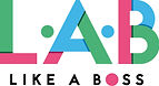 The Like A Boss official Logo made up the letter L.A.B in green, blue and pink and the tagline 'Like