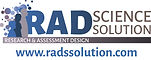 RAD Science Solutions logo that has blue bold letters spelling 'RAD'. Next to it there are floating dots and figures of people.