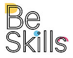 The logo of Be Skills. The letters Be are outlined in black and overlapped wit a yellow semi circle. The word skills are outlined in black and overlapped with a blue dot and a pink half circle.
