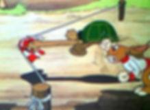 La tortue qui bat le lièvre. Image de la fable, ou la tortue, contre les attentes, gagne la course.