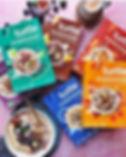 Les boites de porridge de la marque Turtle. Packaging coloré, belle marque qui donne envie.