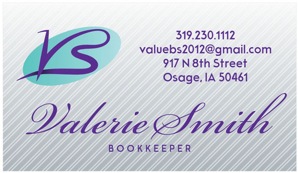 Value Bookkeeping Business Card Front