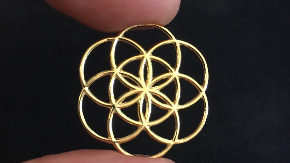 Flower of Life pendant in Gold plated steel