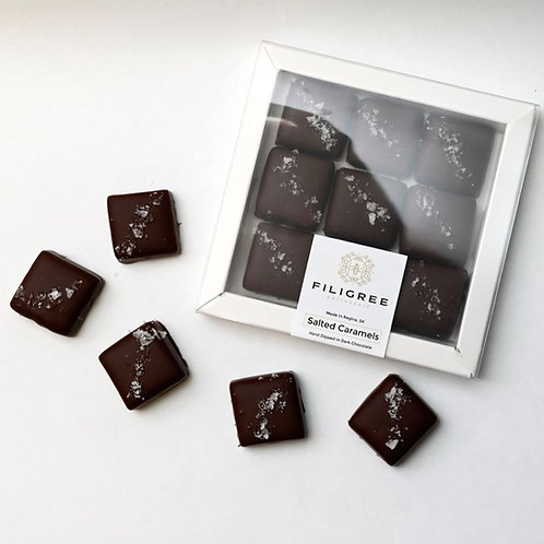 Hand Dipped Dark Chocolate Salted Caramels