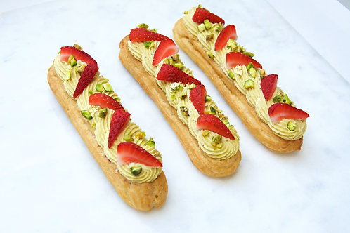 Strawberry Pistachio Eclair