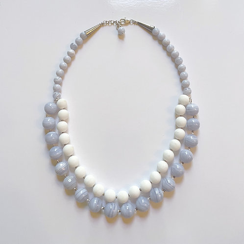 Blue Lace and White Agate & Silver Necklace