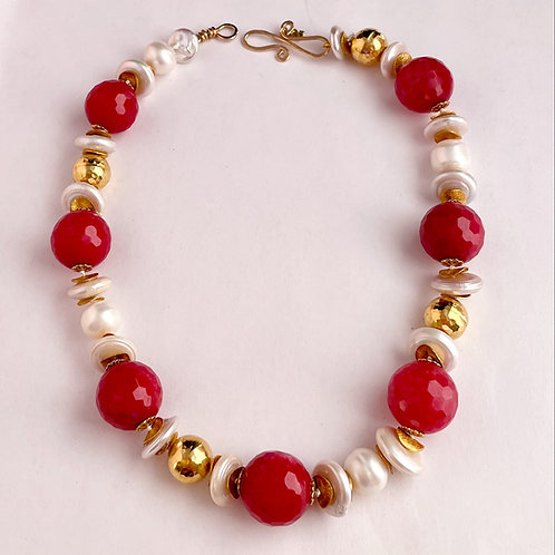 Deep Pink/Red Quartz with Pearls and Gold