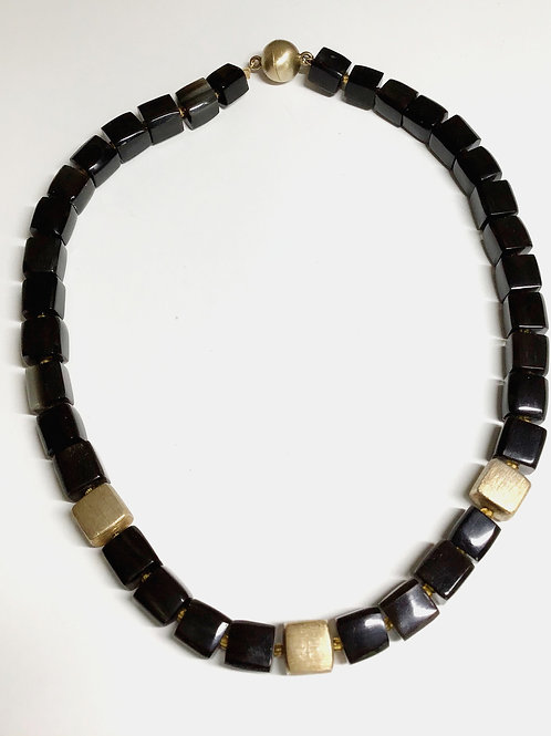 Black Horn with Gold Necklace