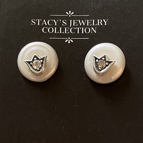 Coin Pearls with Sterling Crown & CZ Earring