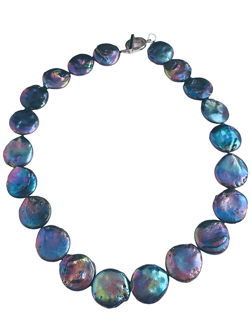 Blue Coin Pearl Necklace
