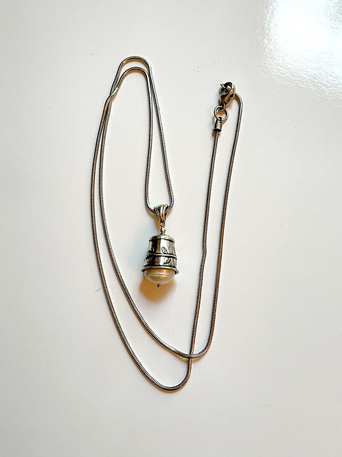 Vintage Thimble with Pearl on Long Sterling Chain
