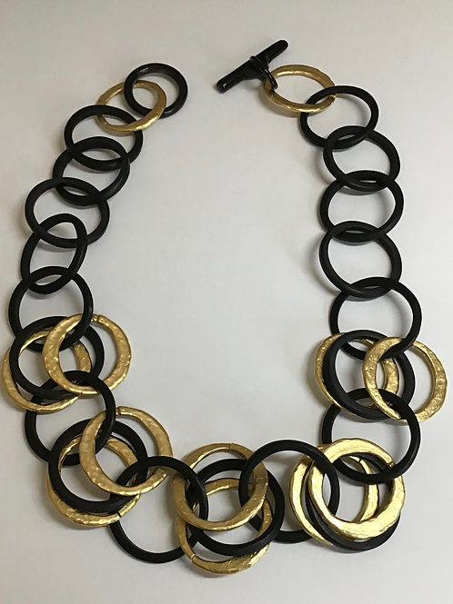 Gold & Black Horn Circle Necklace