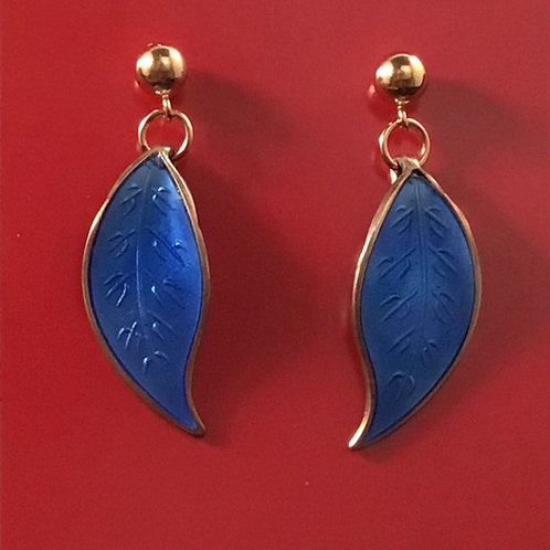 Vibrant Blue Enamel Earrings
