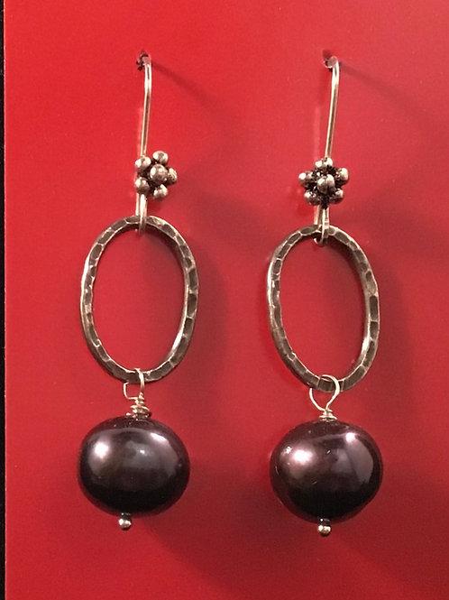 Sterling & Pearl Oval Drop Earring