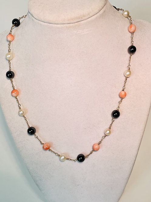 Pearl, Coral and Hematite Necklace