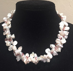 Keshi pearls with pink briolettes